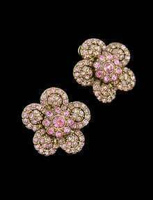 Pink Diamond Gold Flower Stud Earrings