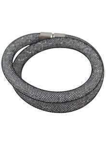 Black Mesh Two Laps Bracelet
