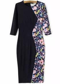Black Round Neck Floral Slim Bodycon Dress