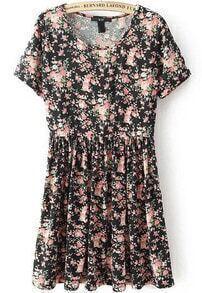 Black Short Sleeve Floral Pleated Dress