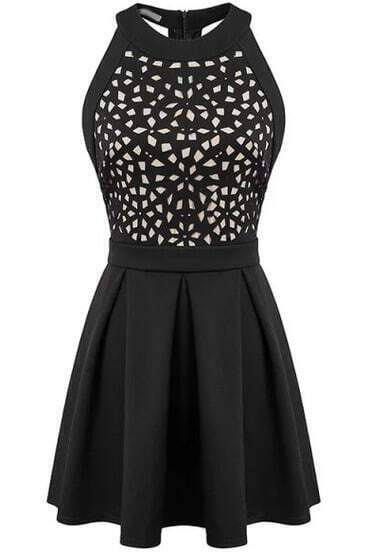 Black Halter Hollow Backless Ruffle Dress