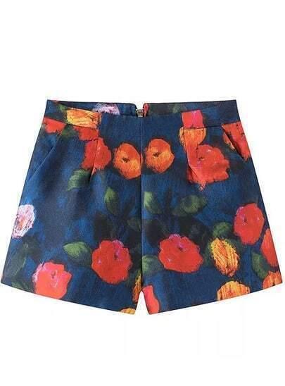 Blue High Waist Vintage Floral Shorts