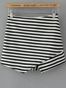 Black White Elastic Waist Striped Shorts