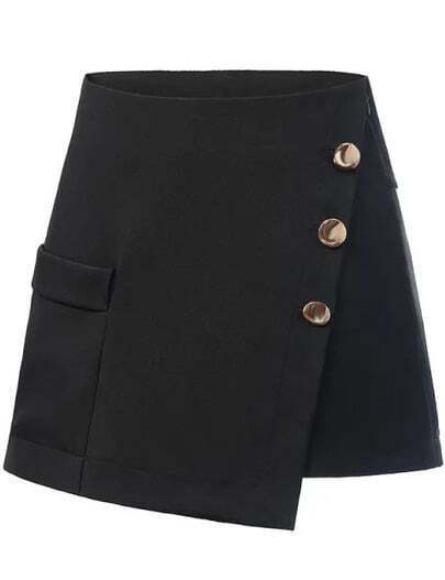 Black Buttons A Line Shorts