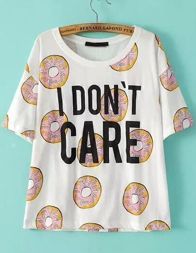 White Short Sleeve Biscuit Letters Print T-Shirt
