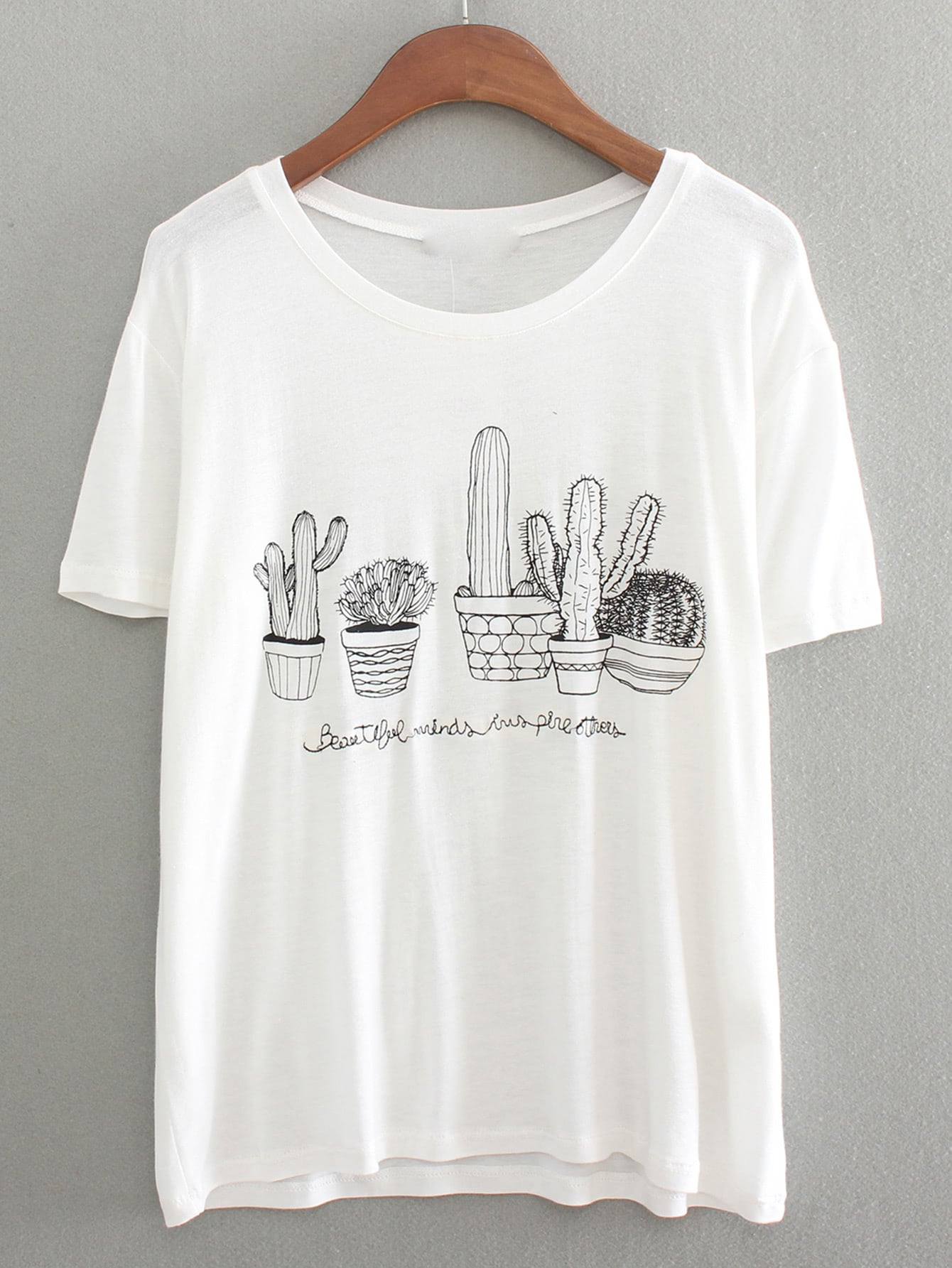 Dropped shoulders cactus embroidered t shirt shein sheinside