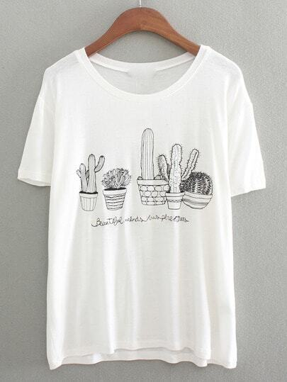 Dropped Shoulders Cactus Embroidered T-Shirt