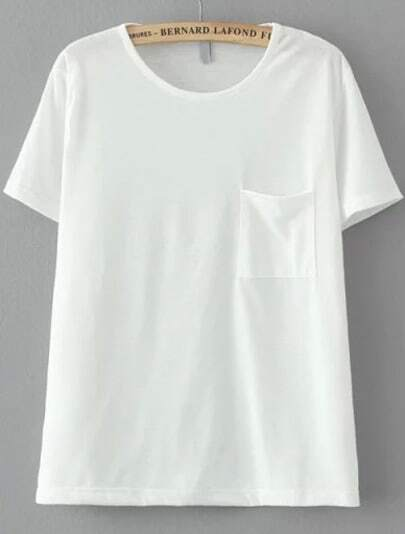 White Short Sleeve Pocket Loose T-Shirt