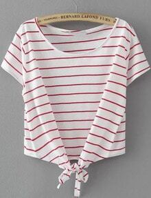 White Short Sleeve Striped Knotted T-Shirt