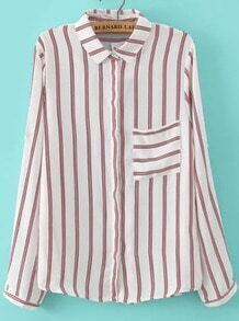 White Red Long Sleeve Striped Pocket Blouse
