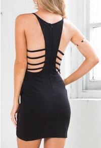 Black Deep Plunge Neck Geometric Angle Bandage Dress