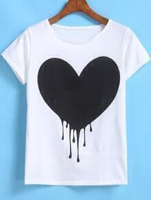 White Short Sleeve Heart Print T-Shirt