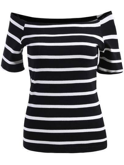 Black Off the Shoulder Striped Slim Blouse