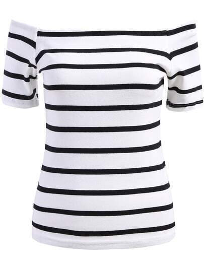 White Off the Shoulder Striped Slim Blouse