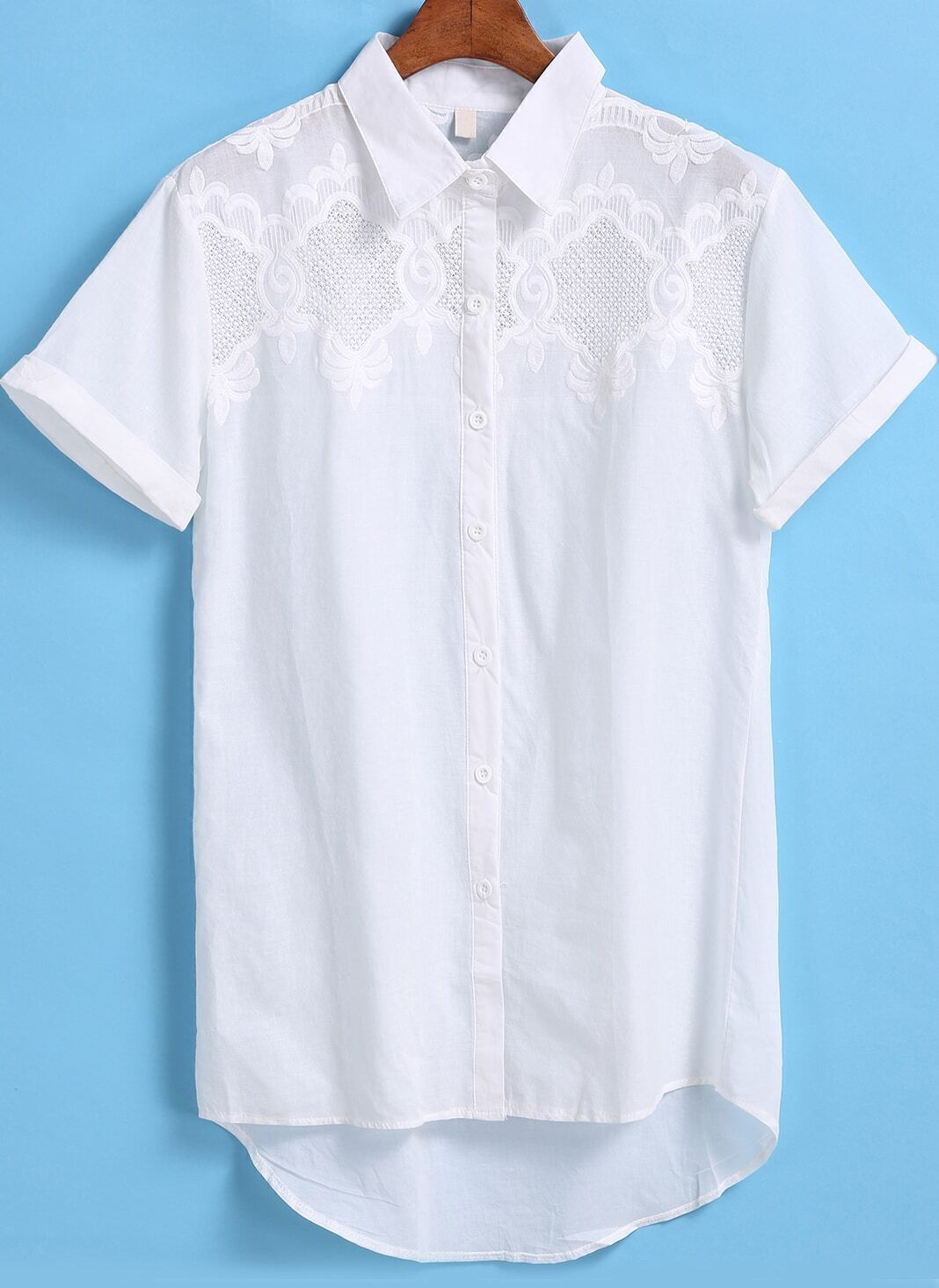 White Short Sleeve Hollow Embroidery Blouse 114