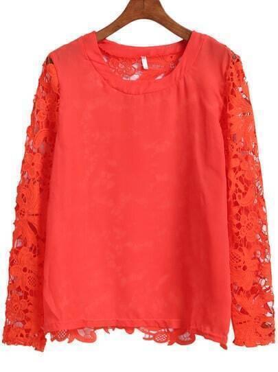 Orange Lace Long Sleeve Loose Blouse