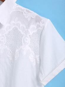 White Short Sleeve Hollow Embroidery Blouse 62