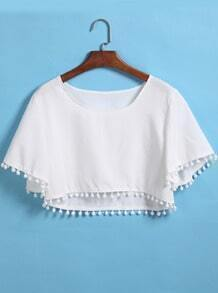 White Short Sleeve Tassel Crop Blouse