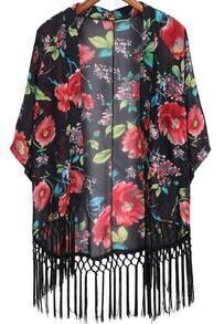 Black Long Sleeve Floral Tassel Kimono
