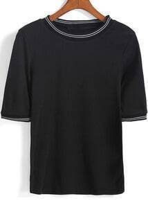 Black Short Sleeve Knit Loose Sweater