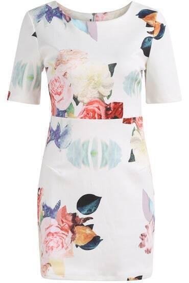 White Short Sleeve Rose Print Bodycon Dress