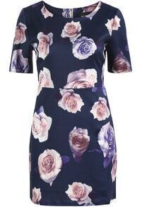 Navy Short Sleeve Rose Print Bodycon Dress