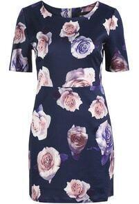 Navy Short Sleeve Rose Print Bodycon Dress