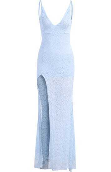 Blue Deep V Neck Bluish Lace Split Maxi Dress
