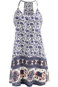 Navy Spaghetti Strap Floral Patterned Loose Dress