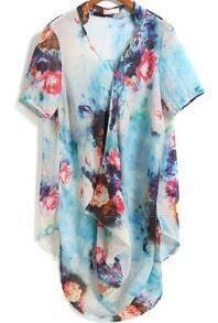 Blue Short Sleeve Floral Asymmetrical Chiffon Dress