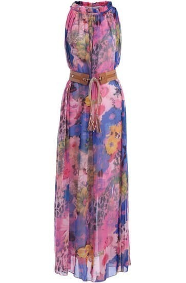 Blue Red Sleeveless Floral Chiffon Maxi Dress