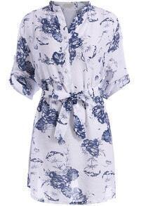 Blue Stand Collar Tie-waist Floral Dress