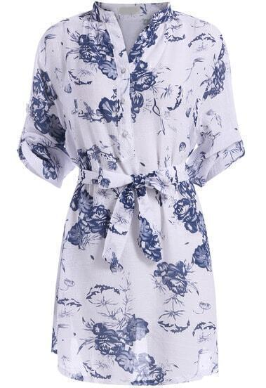 Blue Stand Collar Tie-waist Floral Dress