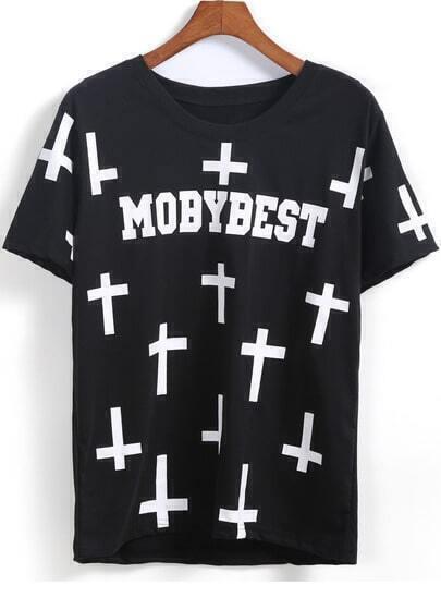 Black Short Sleeve MOBYBEST Cross Print T-Shirt