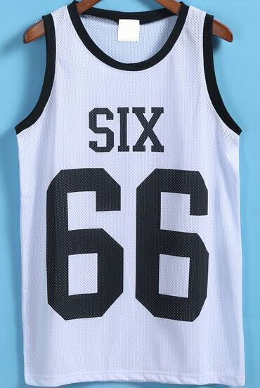 White Round Neck SIX 66 Print Vest