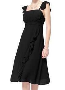 Black Spaghetti Strap Ruffle Frills layer Chiffon Dress