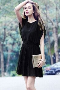 Black Short Sleeve Bead Rhinestones Slim Chiffon Dress