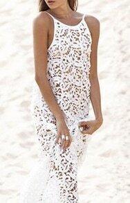 White Spaghetti Strap Hollow Backless Dress