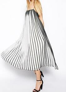 Black White Spaghetti Strap Vertical Stripe Dress