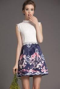 White Blue Sleeveless Lace Floral Dress