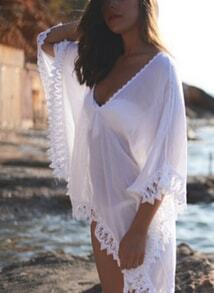 White Sheer Peplum Trims Loose Beach Dress