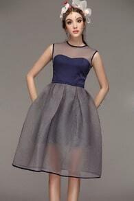 Navy Sleeveless Mesh Flare Slim Dress