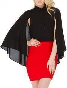 Black Split Sleeve Pocket Chiffon Cape Blouse