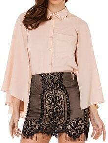 Pink Split Sleeve Pocket Chiffon Cape Blouse
