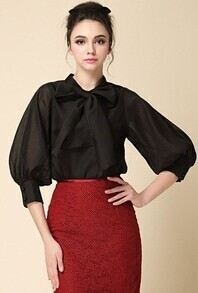 Black Bow Collar Long Sleeve Loose Blouse