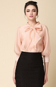 Pink Bow Collar Long Sleeve Loose Blouse