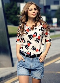 White Off the Shoulder LOVE Print Blouse