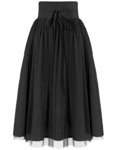 Black High Waist Pleated Mesh Skirt