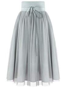Tie Waist Pleated Mesh Skirt