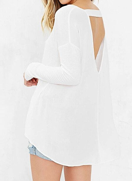 White Long Sleeve Backless Loose T-Shirt